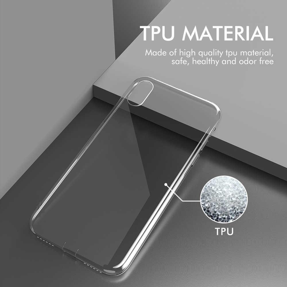 KEYSION Ultra İnce Şeffaf Yumuşak TPU iPhone için kılıf XS Max XR X Ince Şeffaf Silikon Kapak için iPhone XR Toz fiş