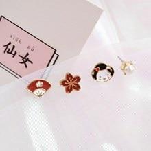 Japanese Style Comic Metal Enamel Sakura Kimono Earring Geometric Women Cute Mount Fuji Stud Earrings