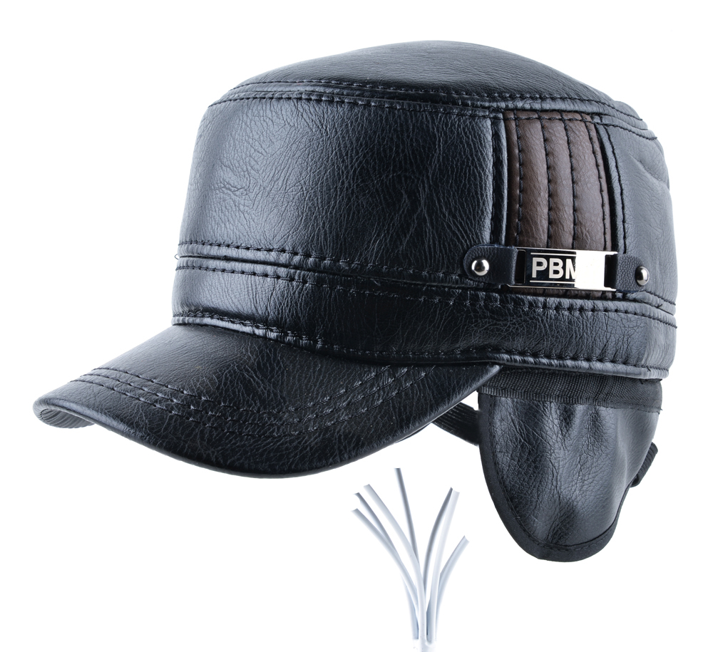 92846af61b0 2018 Winter mens leather cap warm hat baseball cap with ear flaps russia  flat top caps for men casquette