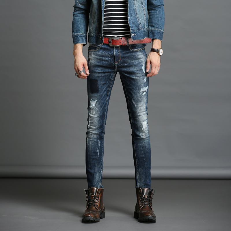 ФОТО Italian Style Fashion Pants Full Skinny Scratched Jeans Spring straight denim Men Stretch Denim Slim Jeans long cowboy pant