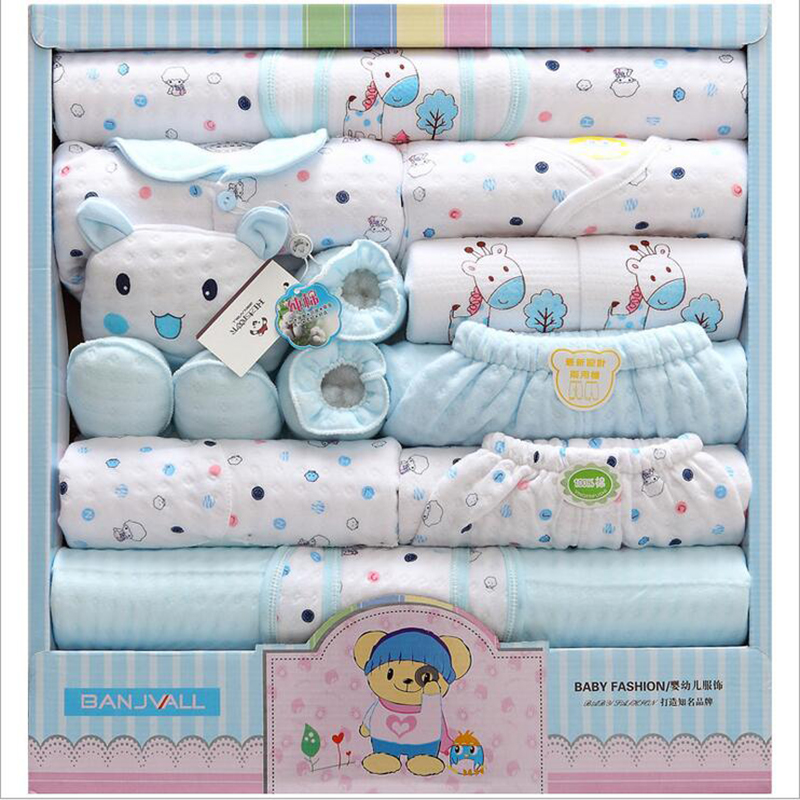 2017 New Arrival 18 Pcs/Set High Quality 100% Cotton Newborn Baby Clothing Gift Sets Lovely Cartoon Printing Baby Clothing Sets