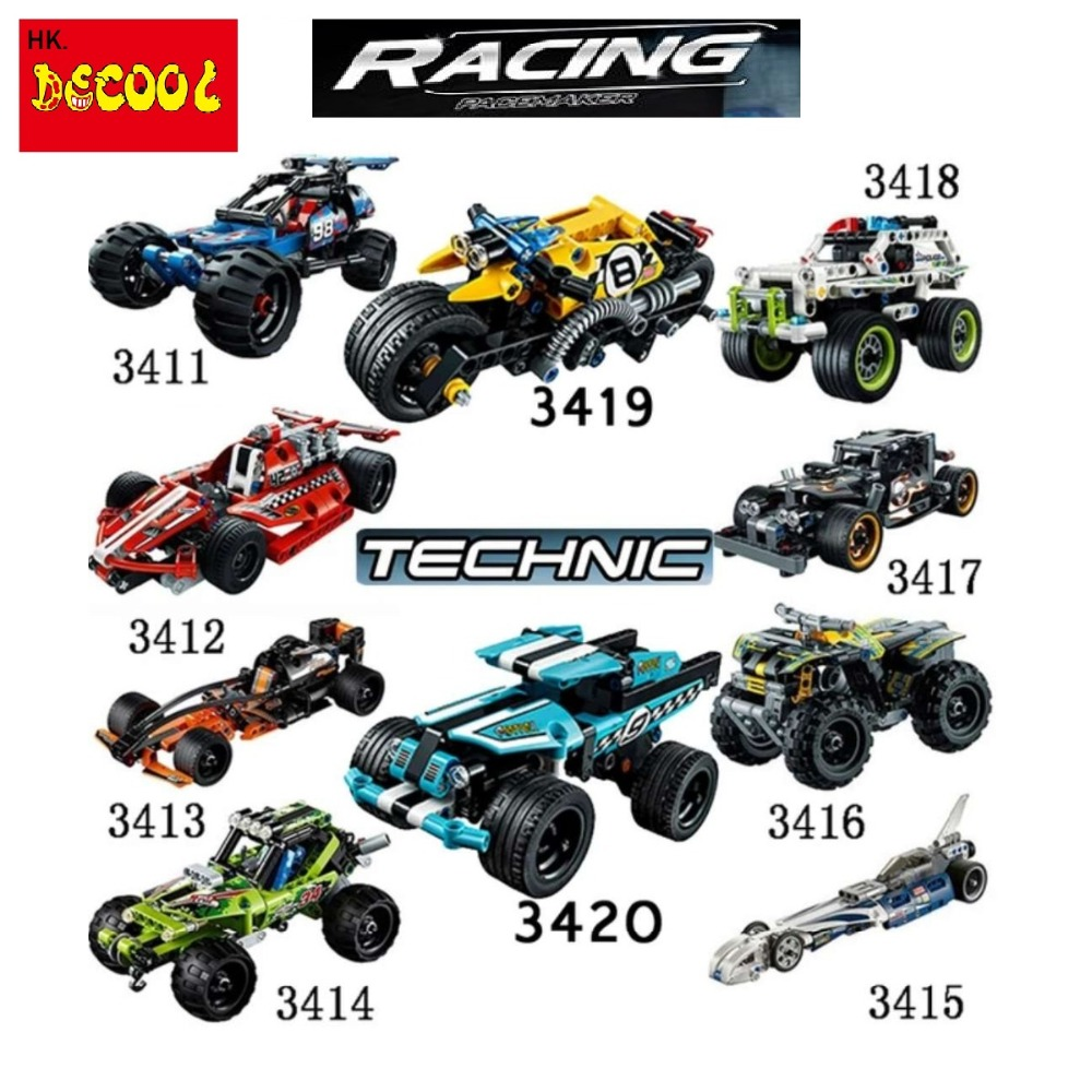 Decool 3411-3420 2in1 Racing warrior 911 pull back car Model building block bricks TOYs FIT for lego TECHNIC for minifigure