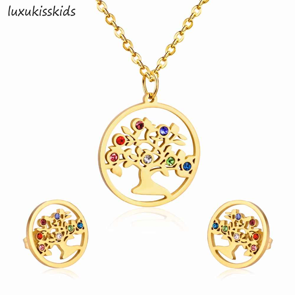 LUXUKISSKIDS 316L Stainless Steel Zircon Wedding Jewelry Sets Tree Pendant Necklace Small Stud Earrings Jewelry For Women Gift