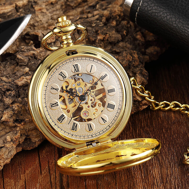 Double Sides 2 Open Case Pocket Fob Watches Men Hollow Deer Skeleton Mechanical Pocket Watch Chains Steampunk Pendant Gifts