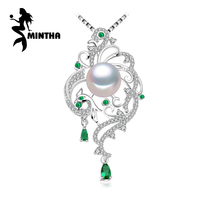 MINTHA 925 sterling silver phoenix necklace ,pearl jewelry statement necklace ,Pearl pendant for women beryl Bohemia necklace