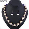 AWAYTR 2017 Mujeres Crystal Pearl Jewelry Set Nueva perla Simulada Pendientes Del Collar Elegante de La Boda de Regalo Conjuntos de Joyería de Fantasía