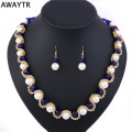 AWAYTR 2017 Women Crystal Pearl Jewelry Set New Simulated-pearl Necklace Earrings Set Elegant Wedding Gift Costume Jewelry Sets