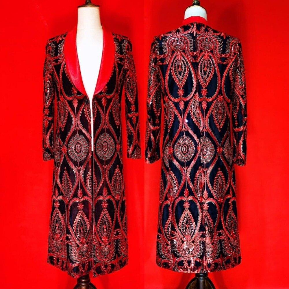 Plus rozmiar haftu czarny czerwony wzór męska kurtka mężczyźni piosenkarka taniec pokaż klub nocny strój balu ubrania imprezowe długi strój w Kurtki od Odzież męska na AliExpress - 11.11_Double 11Singles' Day 1