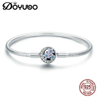 DOYUBO New Arrival Women's Light Purple Enamel Flower Charms Bangles To Match DIY Charms Lady Gift Silver Bracelet Jewelry AE022