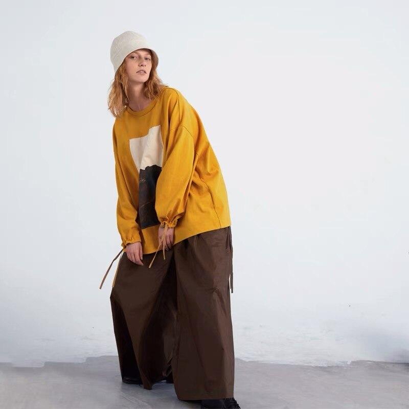 IRINAY084 2019 SS nouvelle Collection design original jaune surdimensionné à manches longues t-shirt femmes