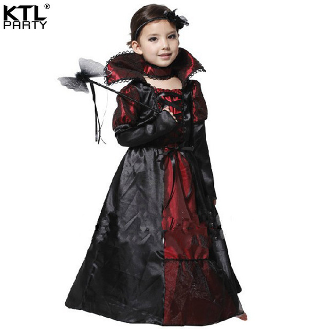 halloween party dress up costume children girl V&ire costume Queen Prinecess costume clothes for kid  sc 1 st  AliExpress.com & halloween party dress up costume children girl Vampire costume Queen ...