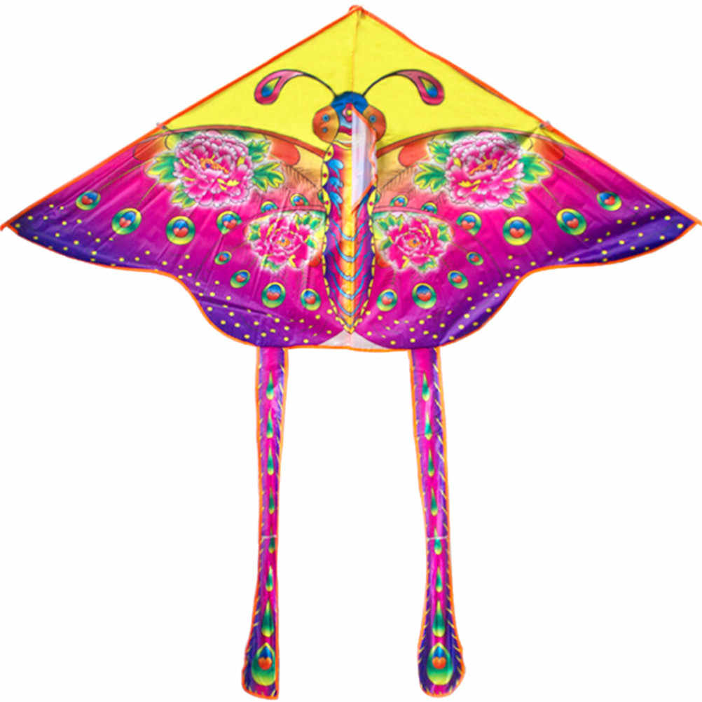 90*55cm Outdoor Opvouwbare kinderen Kite Stunt Kite Surf Met 60M Controle Bar En Lijn Nylon regenboog Vlinder Kite