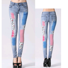 New Arrival Female Casual Pencil pants Washed American flag Pattern Hot Drilling Skinny Long Jeans Capris