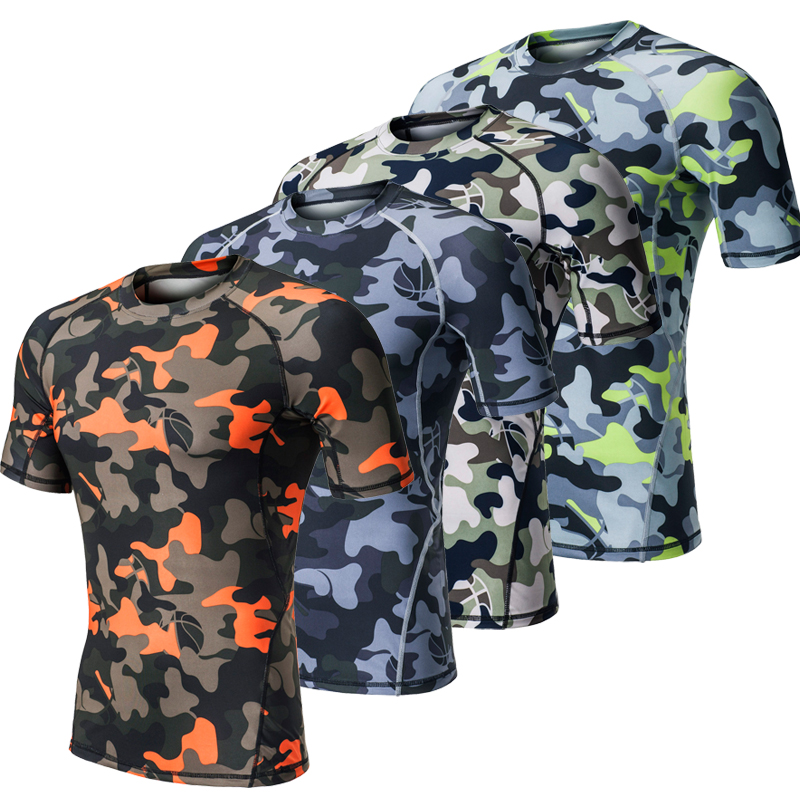 Camouflage Compression Men Running T Shirts Yoga Tights Fitness Running Tops Short Sleeve Gym Shirts Male Sport Leggings Tees XL