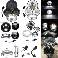 1 Set Headlight Harley Motorcycle Parts 7 LED Moto Headlight + 4.5 4 1/2 inch Passing Lights For Harley Heritage Softail