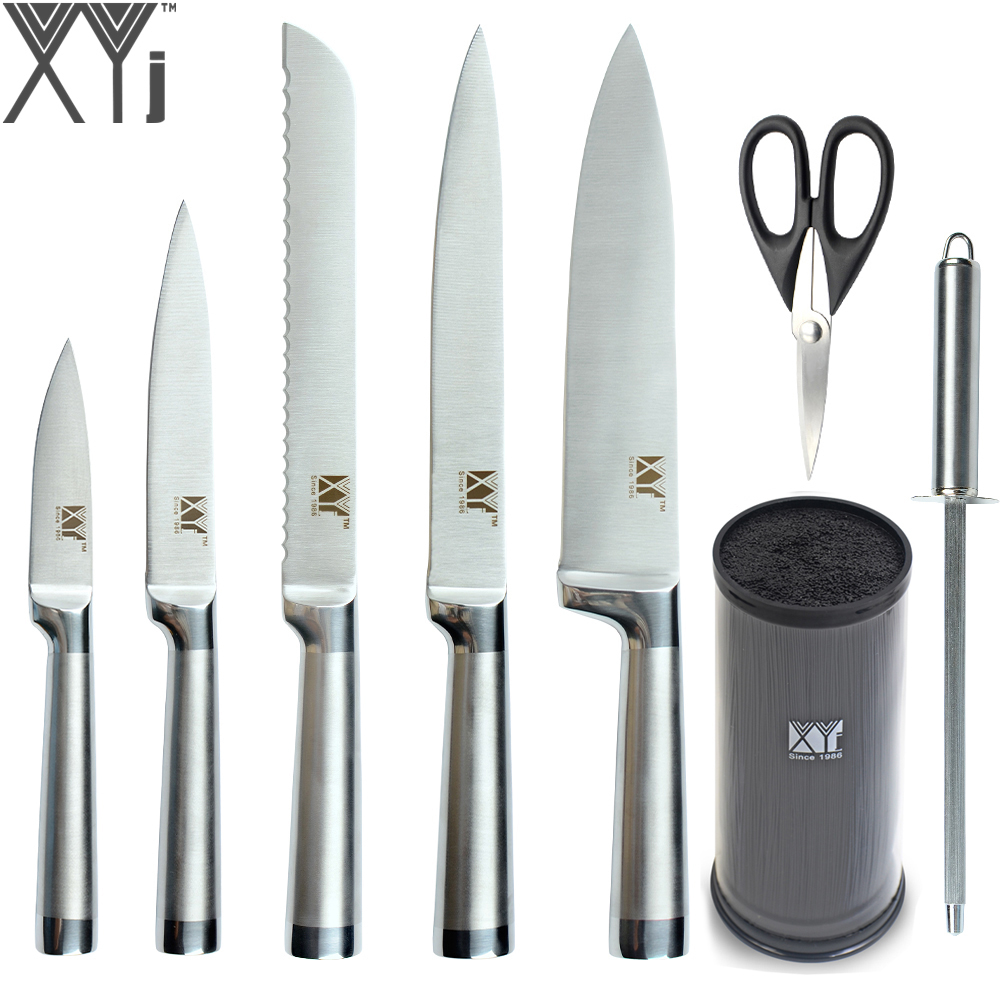 XYj Sans Soudure De Soudage Cuisine Couteaux Tranchants En Acier Inoxydable Couteaux + Couteau Stand + Affûtage Bar + Ciseaux Durable de Cuisson Outils