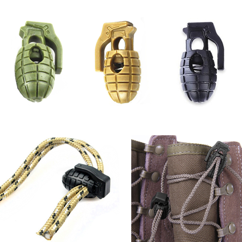 10 Grenade Shoe Lace Buckles Stopper Rope Clamp Paracord Cord Shoelace Locks