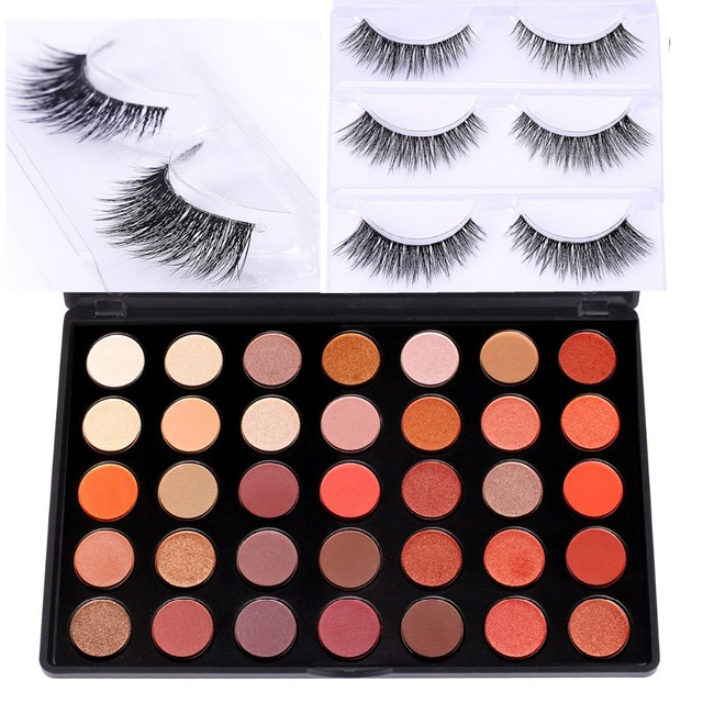 DE'LANCI 35 Colors Shimmer Matte Eye shadow Professional Makeup Eyeshadow Palette With Mink False Eyelashes Gift for Women