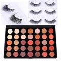 DE'LANCI 35 Cores Shimmer Matte sombra Paleta Da Sombra de Maquiagem Profissional Com Mink Cílios Postiços Presente para As Mulheres