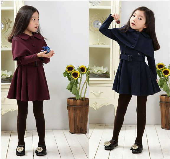 Free shipping Winter girl lady style shawl + dress two-piece girl suit clothing set