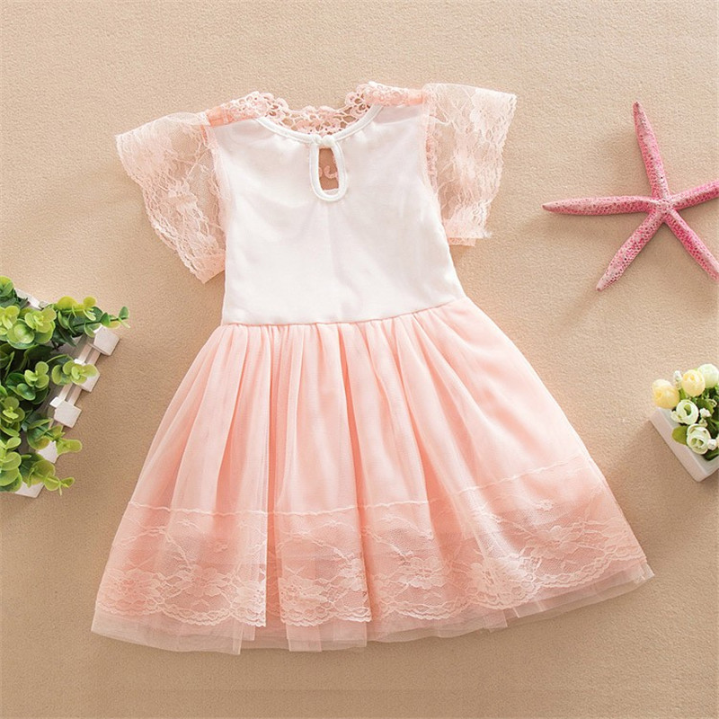 2018 New Style Baby Girl Dress Baby Dress Girl Ball Gown Short Sleeve Print Clothing Solid Girls Clothes For 3-8Years Children 2018 children s clothing new short sleeved girls printed shoulders children princess puff dress baby girl clothes baby