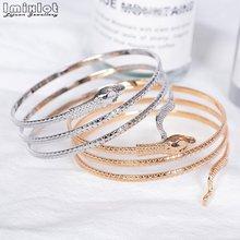 Punk moda serpiente enrollada espiral superior brazo brazalete para mujer joyería Color oro plata