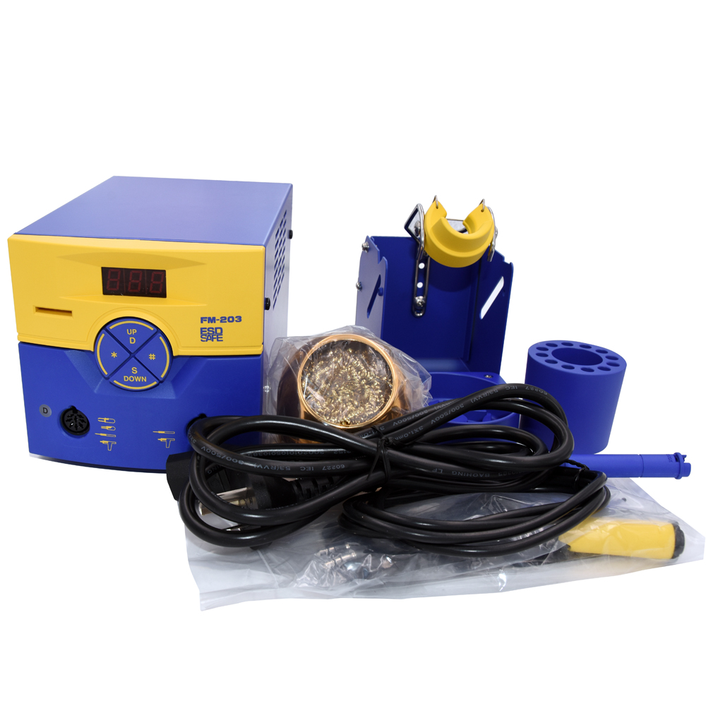 110/220V FM203 ESD-Safe Dual Port Soldering Station Machine with FM2027 Soldering Iron and T15 Series soldering tip