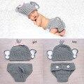 Crochê Bebê Elefante Traje Chapéu Do Bebê de Malha e Calças Fraldas Definir Bebê Recém-nascido Animal Fotografia Props WLS-15002