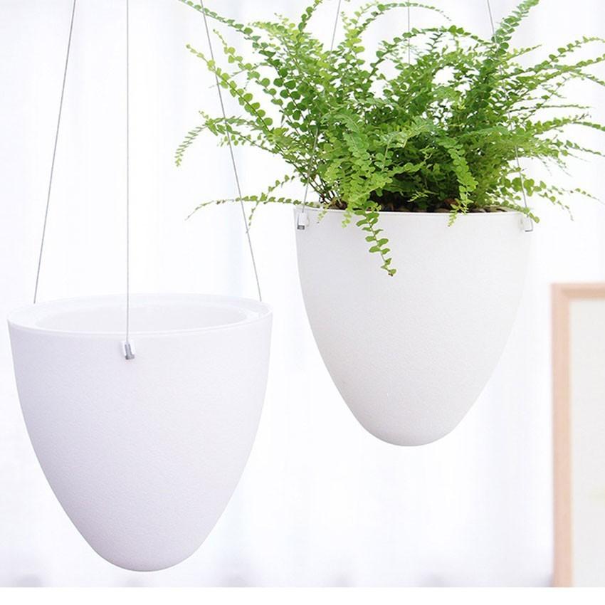 Mini White Lazy Flower Pot Plastic Succulent Plant Pots Water Hanging Pots Watering Garden Pots Planters Home Decoration