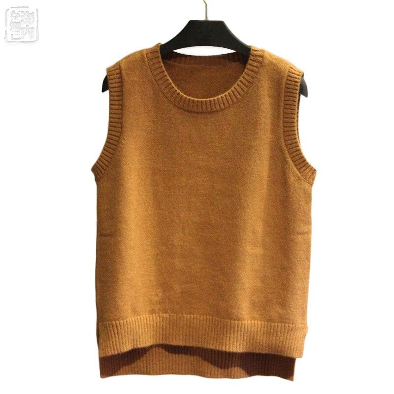 Hot Women's Knitted Angora Rabbit Cashmere Round Neck Vest Split Match Womens Wool Sleeveless Swaeter Female Fashion Soft