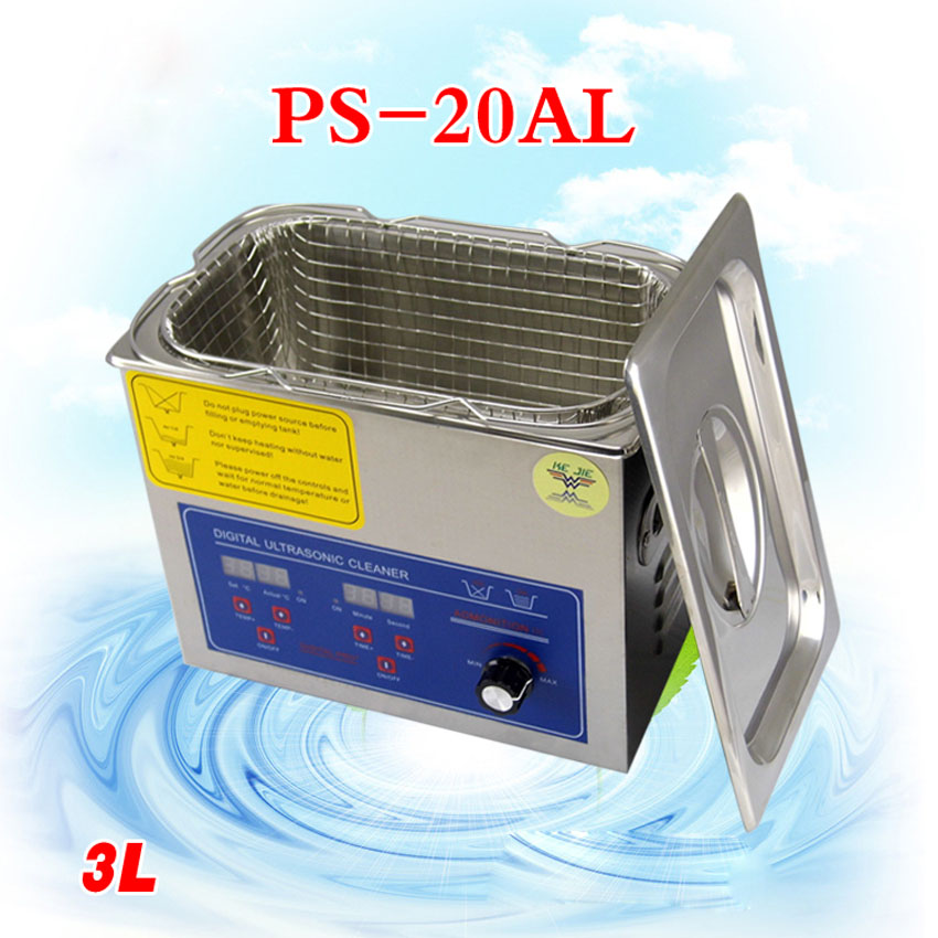 1PC PS-20AL Adjustable Power 50-120W Digital Heated and Timer Ultrasonic Cleaner 3L with Free Basket derui auto parts ultrasonic cleaner with timer and heated dr mh30 3l