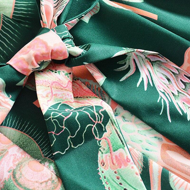Automne Robe Green Longues Auto Pendule Qualité Designer Piste De Impression culture Robes Manches Longue Haute 2018 Femme Revers O4FqwX