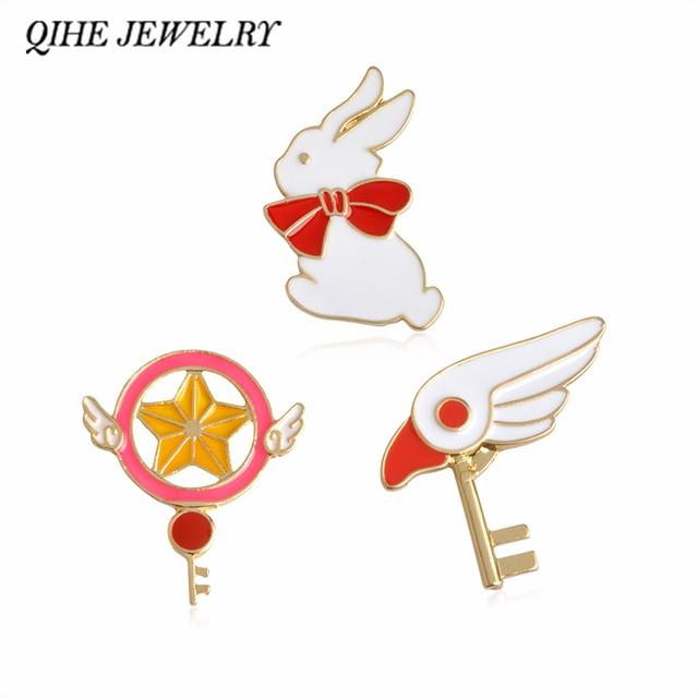 QIHE JEWELRY Cartoon Cute Angel Wing Scepter Rabbit Metal Oil Brooch Pins Button Girl Jeans Bag Decoration Gift Bijoux Wholesale
