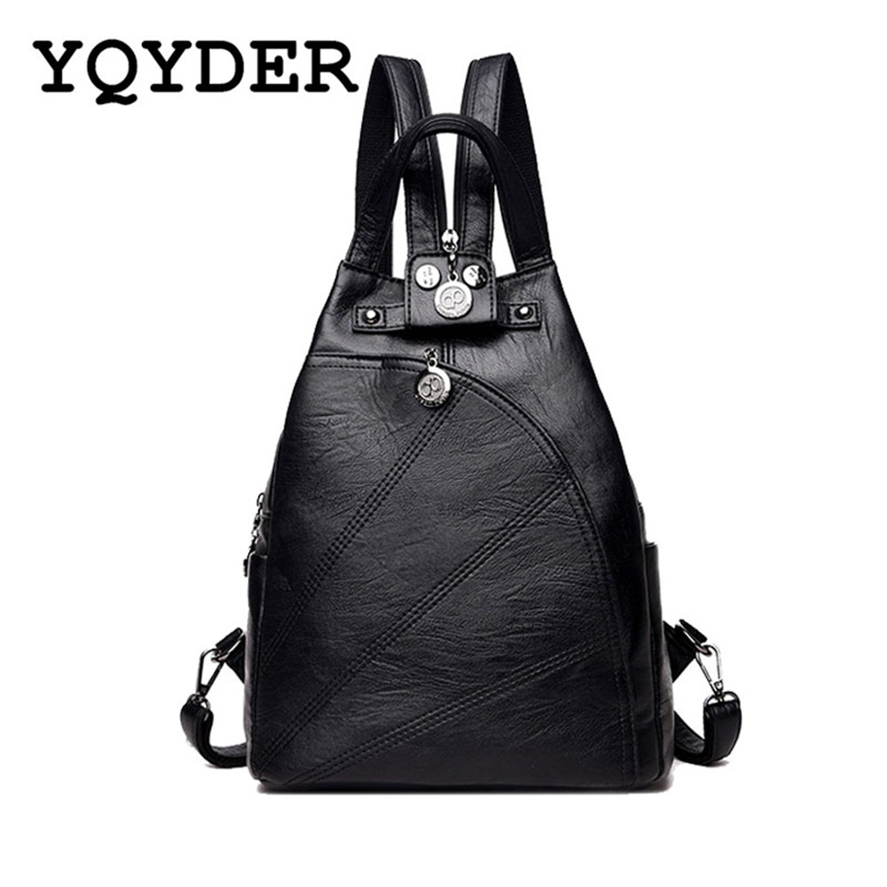 где купить Women Multifunction Backpacks Black Soft Leather School Bags Female Zipper Shoulder Travel Bag Mochila Girls-Teenagers Back Pack по лучшей цене