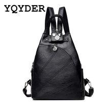 7c6dfbde04cf Women Multifunction Backpacks Black Soft Leather School Bags Female Zipper Shoulder  Travel Bag Mochila Girls-