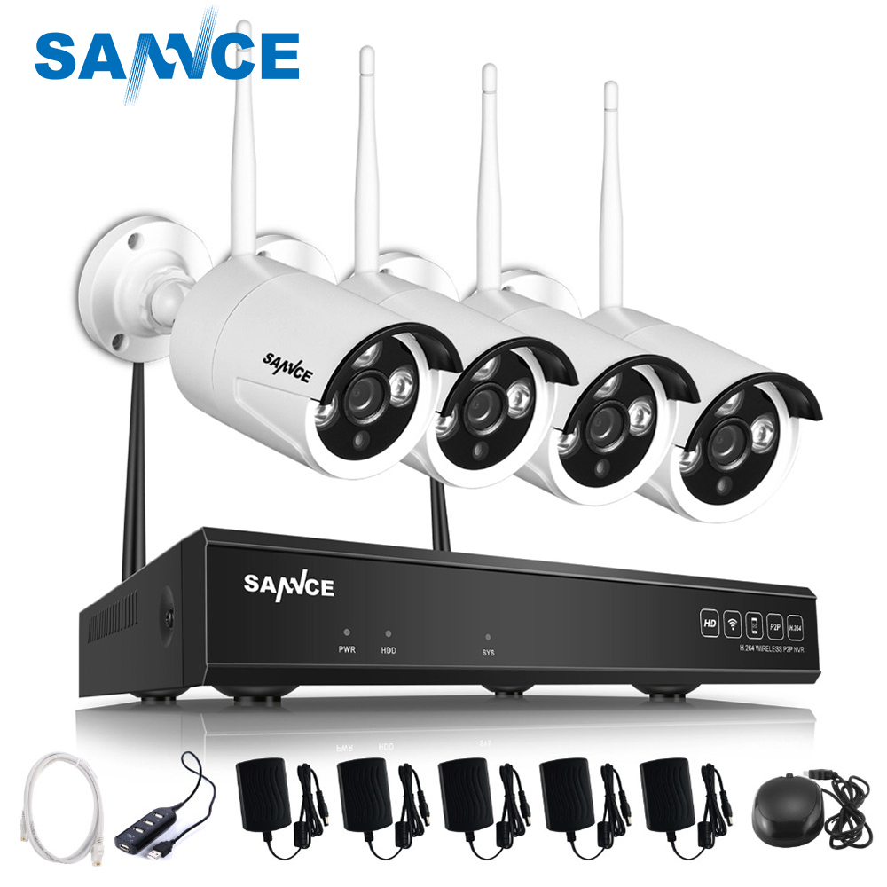 SANNCE 4CH 720P WIFI CCTV System HDMI NVR 4PCS 1.0 MP IR Outdoor P2P Wireless IP Camera Security System Surveillance Kit cctv system 4ch cctv kit 720p 960p 1080p 2 0 hdmi p2p onvif 4ch nvr 4pcs ip camera security 4pcs array ir leds ip camera kit