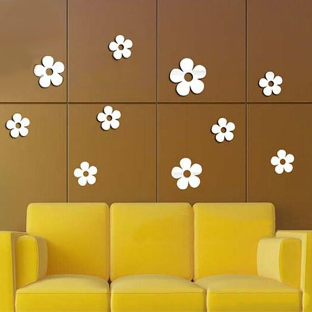 3D Removable Decorative Silver Mirror Flowers Wall Sticker For ...