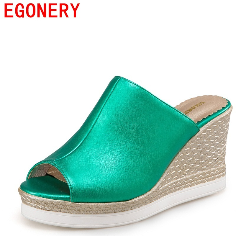 Egonery мода тапочки женщина 2017 лето новые приходят peep toe сандалии свет платформы клинья высокие каблуки сторона женщина тапочки