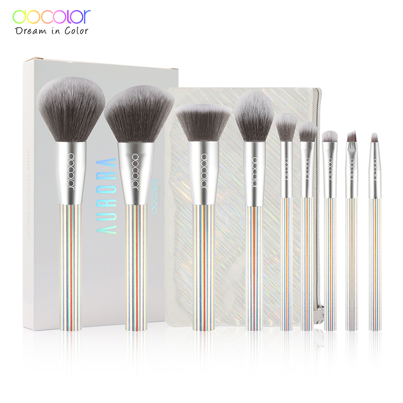 Docolor 9pcs New Makeup brushes set Professional Beauty Make up brush Synthetic Hair Foundation Powder Blushes Brush with BagDocolor 9pcs New Makeup brushes set Professional Beauty Make up brush Synthetic Hair Foundation Powder Blushes Brush with Bag
