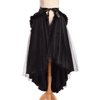 1pc Unique Victorian Black Ruffle Bustle Skirt Women Steampunk Retro Gothic Cape 2 Ways Dressing