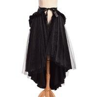 Women Steampunk Ruffle Bustle Skirt Unique 2 Ways Dressing Retro Victorian Black Gothic Cape