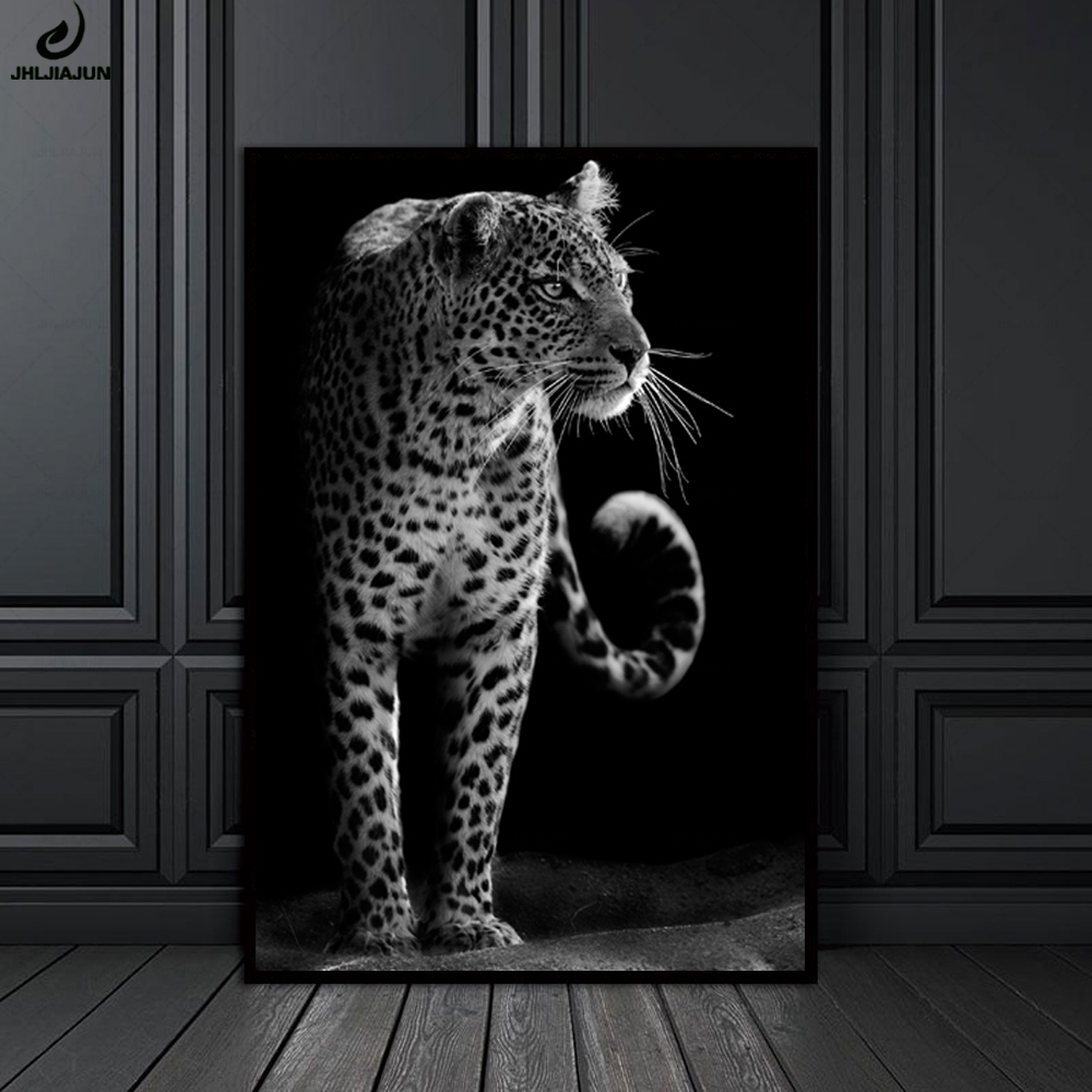 Modern unique black and white animal closeup leopard portrait wall art canvas print painting poster wall picture home decor in painting calligraphy from