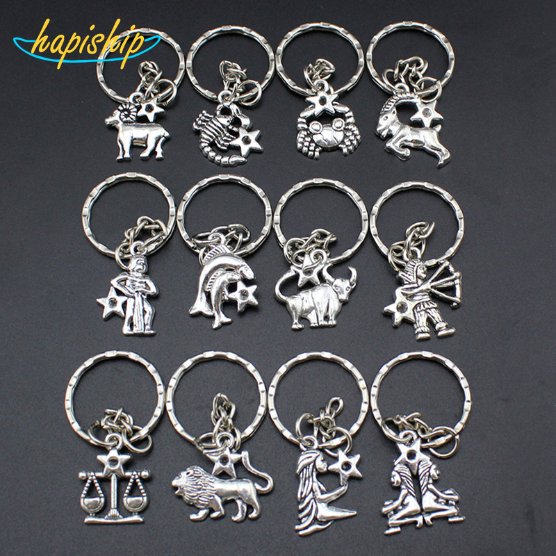 Women/Mens Fashion Handmade Vintage Silver 12 Zodiac Signs Key Chains Key Rings Alloy Charms Gifts YSDY30 Wholesale ...
