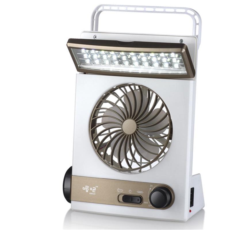 1100mAh Battery Desktop Solar Energy LED Lamp Function Summer Cooling Fan 110V 220V EU US Plug Mini Desktop Ventilator