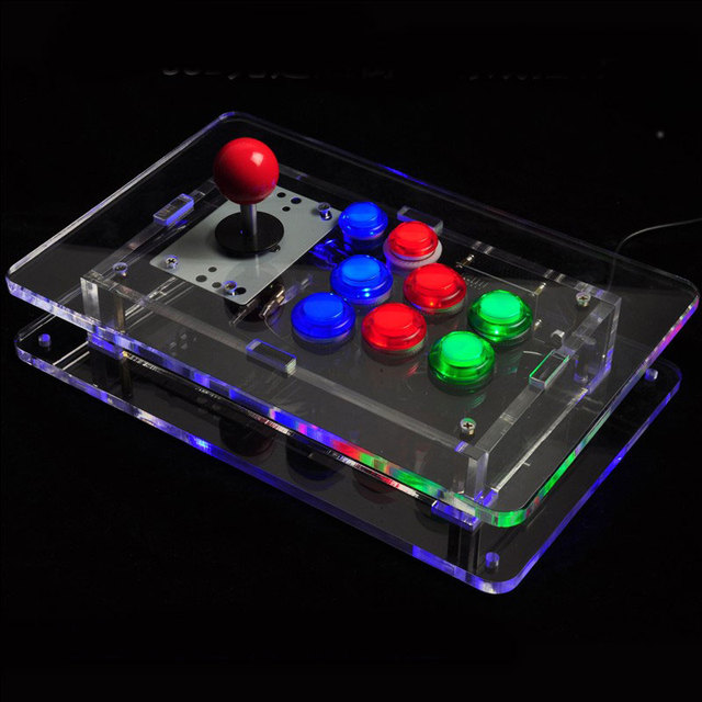 transparant acryl arcade game controller pc joystick computer usb gamepad met led verlichting voor windows