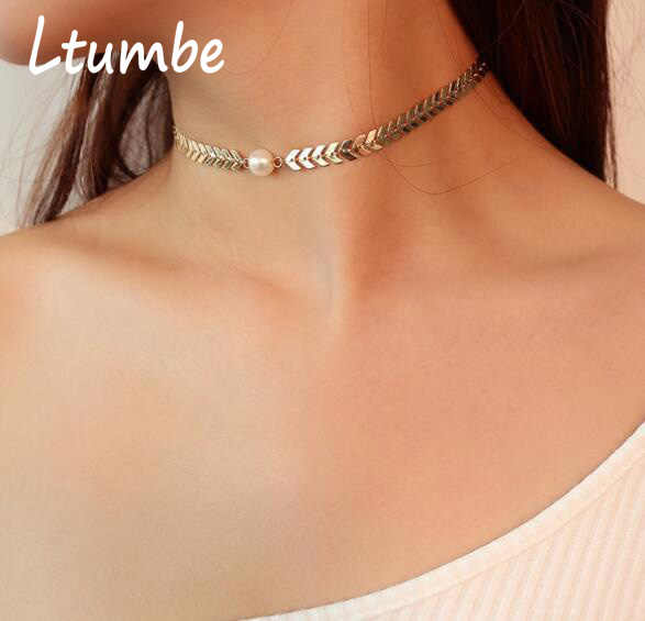Ltumbe Punk Style Fish Bone Chain Necklaces New Arrival Big Sun Moon Flower Cross Love Heart Necklaces Pendant for Women Jewelry