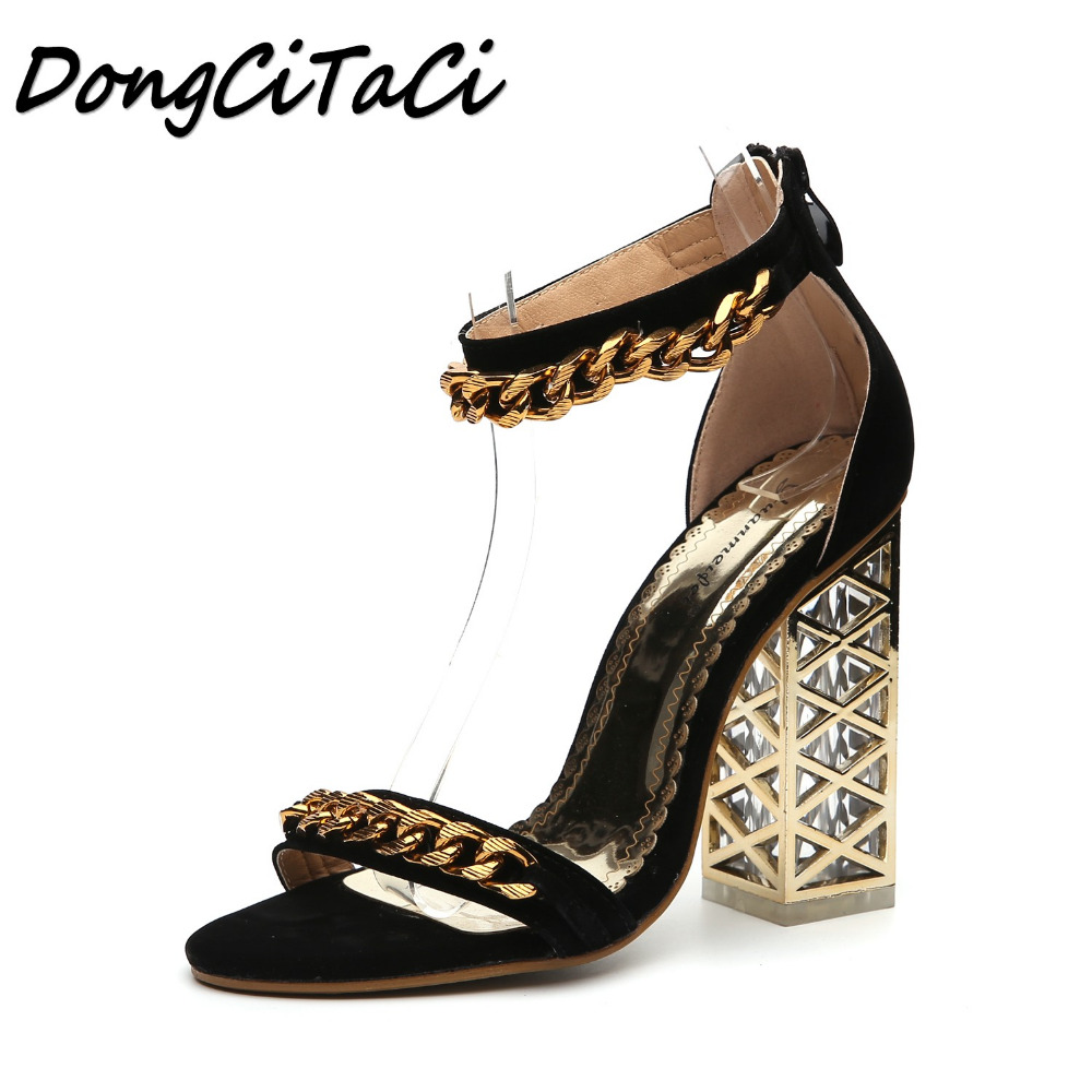 DongCiTaCi Summer Women High heel Sandals Woman Shoes Ladies Fashion Sexy Metal Chain Crystal Transparent Metal heel Sandals