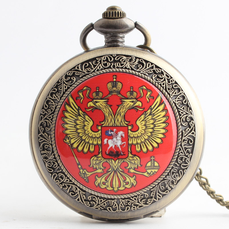 Pocket & Fob Watches Bronze Russia National Emblem Design  Quartz Pocket Watch Pendant Chain Necklace for Women/Men Watch Gift