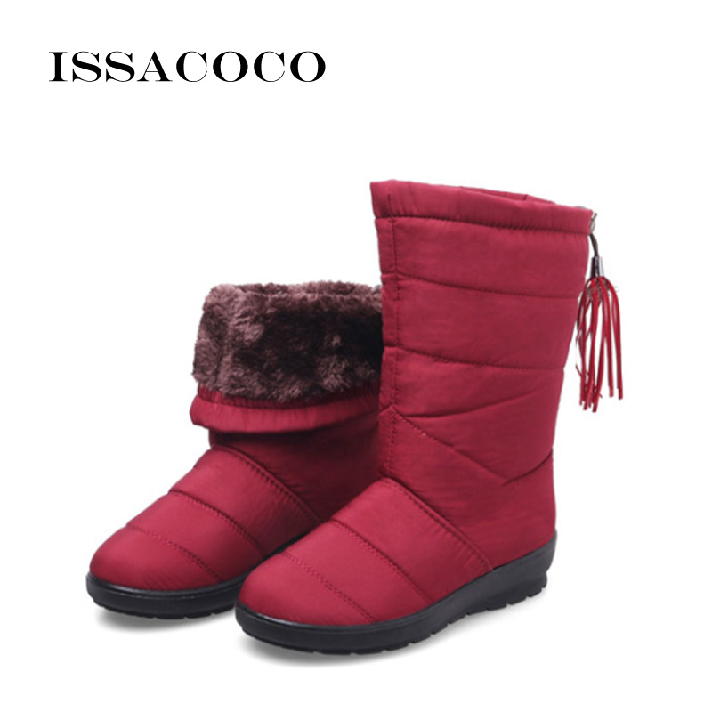 ISSACOCO Women Boots Mid-Calf Down Female Waterproof Ladies Snow Girls Winter Shoes Woman Plush Insole Botas Mujer