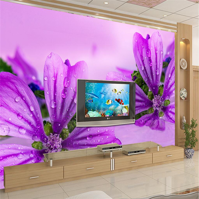 beibehang custom 3d wall paper chinese orchid flower red big purple high wall wallpaper living room - Red And Purple Living Room